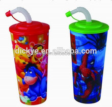 promotional innovative straw PP 3D plastic cup 35oz