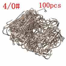 Wholesale Price Size 4/0 Fishing Tools Lot 100PCS Jig Hook Jig Big Stainless Steel Fishing Hooks White Color Fish Hook