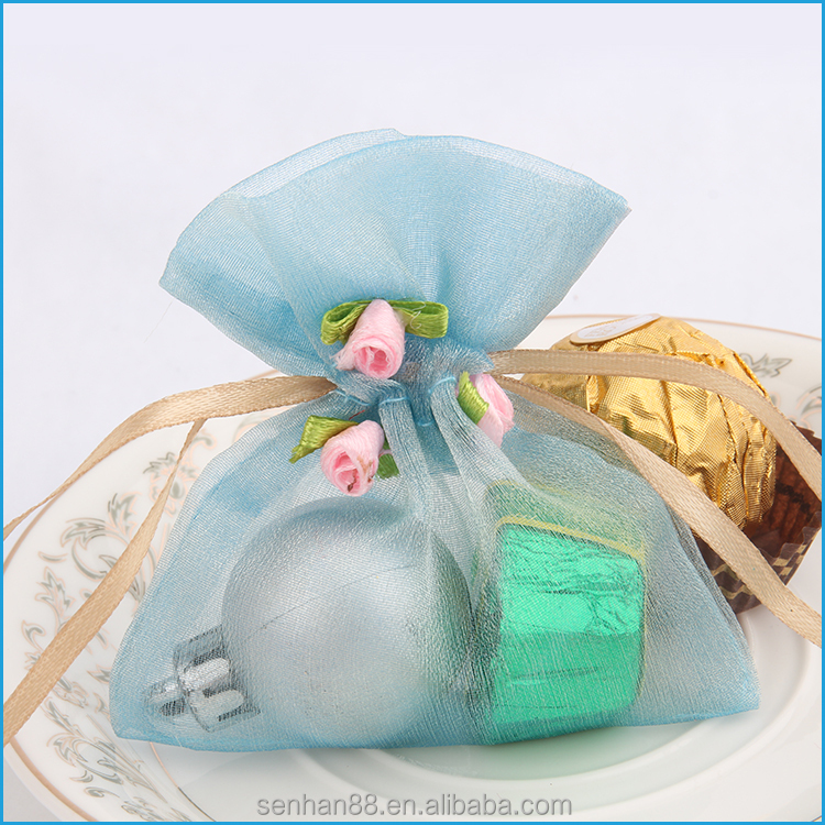 Fashionable customized logo sheer organza bag for jewelry gift