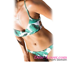 Adult Girls Sexy Bikinis New Photo Green Leaf Print Wrapped Top Two Piece Swimsuit
