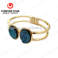 Hot Sale 14K Gold Plated 925 Sterling Silver Natural Titanium Flat Druzy Bracelet Jewelry gemstone with gold bangle