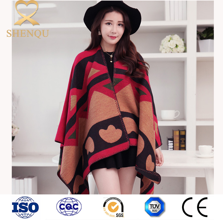 2016 winter women wholesale printed blanket poncho scarf shawl acrylic square scarf alpaca cloak cape