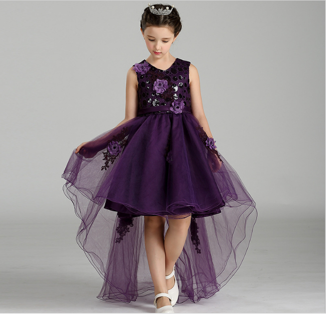 Tailed lace design hand work embroidery flowers girls dress purple kids girl smocked birthday party wedding evening formal dress