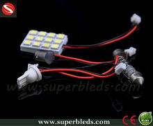 PCB panel 5050 12smd led car auto interior dome light bulb with T10 festoon ba9s adapter