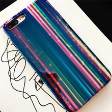 Hotsell Glossy Stripes Rainbow Design Phone Case For iPhone X 8 7 6S 6 Plus