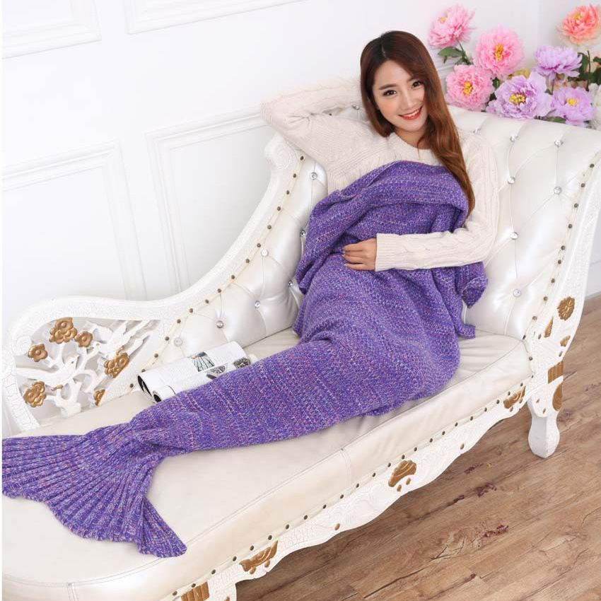 UNIKEA Knitted Mermaid Blanket Adult Mermaid Tail Blanket For Sofa Throw Blankets 95195cm Available In 7 Colors