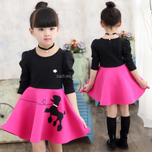 2017 Black Cartoon Dog Pattern Girl Birthday Party Dress Fashion Cotton Red Dresses of Baby Girl Clothing