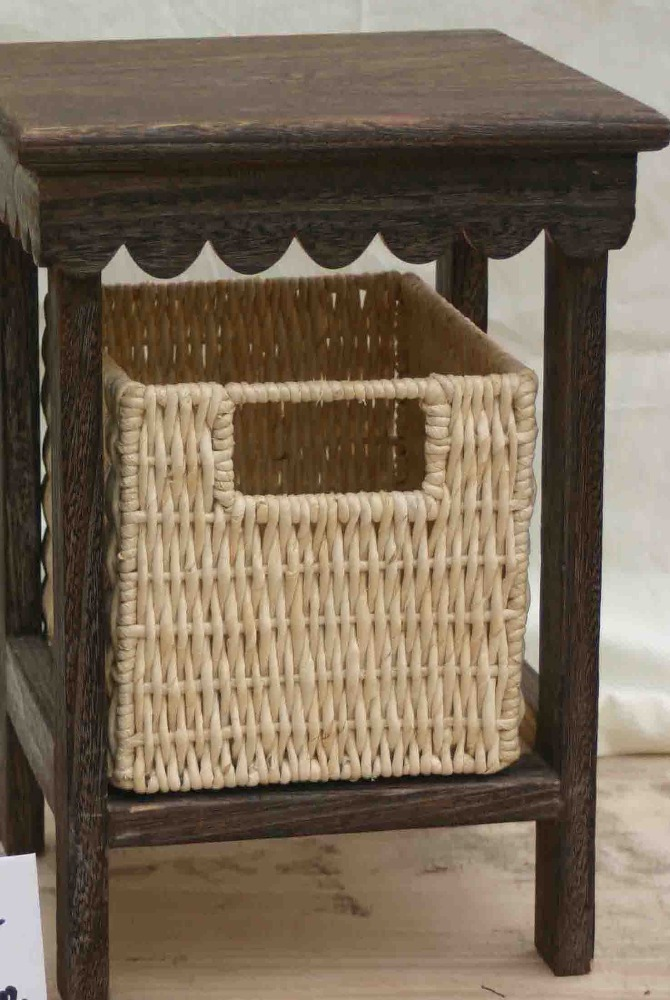 FSC custom design handmade decorative wooden small furniture with wicker drawer