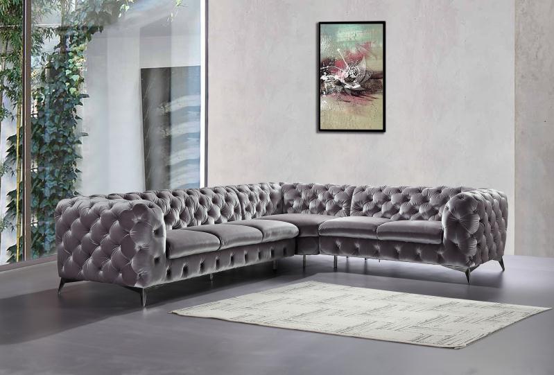 Home Furniture Sofa Gray Velvet Chesterfield Sofa L Shape Sofa Set