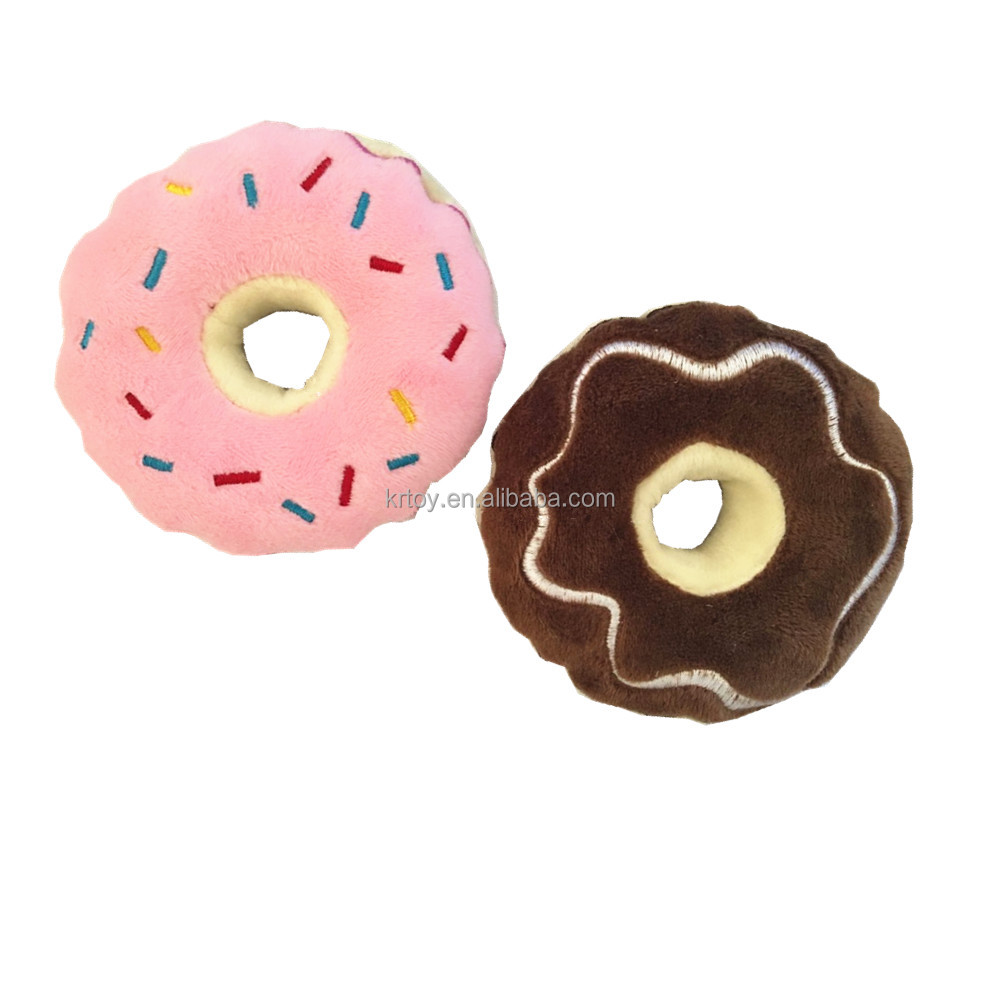 plush squeaky chew donut food pet dog toy