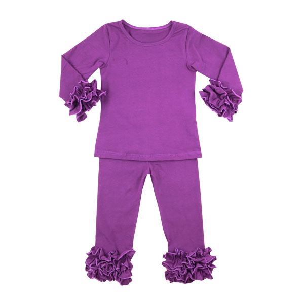 Boutique Clothing children cotton plum blank set baby girls icing ruffle outfits