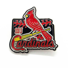 Customized newest iron soft enamel baseball badges with red peace dove