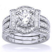 Old fashioned Round cut white sapphire cz paved ring with white gold plated wholesale women wedding rings