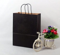 Black kraft paper bags with natural color handle for shopping