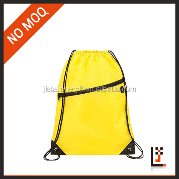 Custom 210D waterproof drawstring gym sack with zipper for promotion