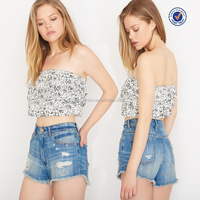 OEM wholesale new fashion printed tiered ladies sexy tube top