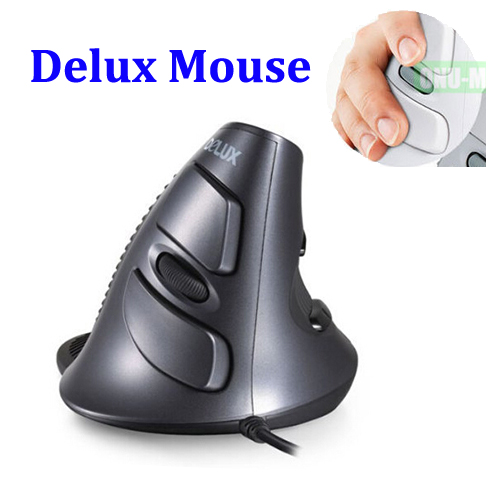 Original DeLUX Wired Vertical Gaming Mouse, Ergonomic Optional USB Mouse