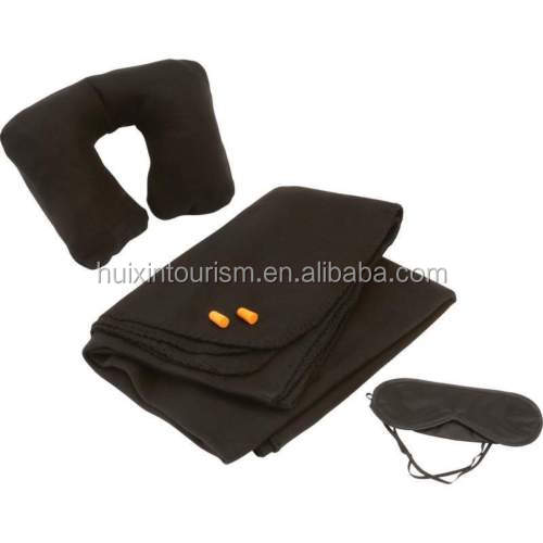 Handy airline fleece blanket/sleep mask/neck pillow/ear plug travel comfort set