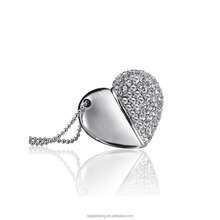 Jewely usb drive,heart shape 8gb flash memory crystal gift USB for promotion