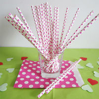 Small Polka Dot Paper drinking Straws of Hot Pink with White