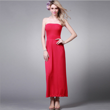 Beach Long dress Dresses Women Elegant Knitted Strapless Big Boob Tube Top Y164