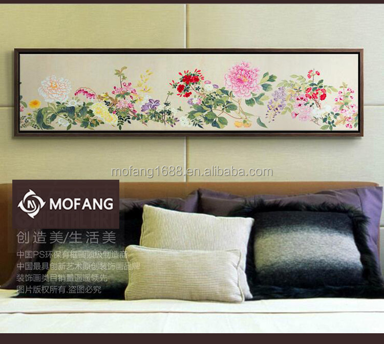 Chinese Style Canvas Rose Flower Oil Painting Framed Wall Art for Decoration