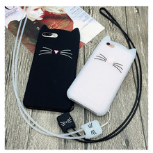 Cute 3D Cartoon Beard Cat Kitty Glitter Phone Case for iPhone 4 4S 5 5S SE 6 6S Plus 7 7 Plus Soft Silicone Cover Fundas Coque