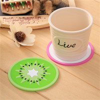 custom fruit logo bar silicone pvc glass coaster