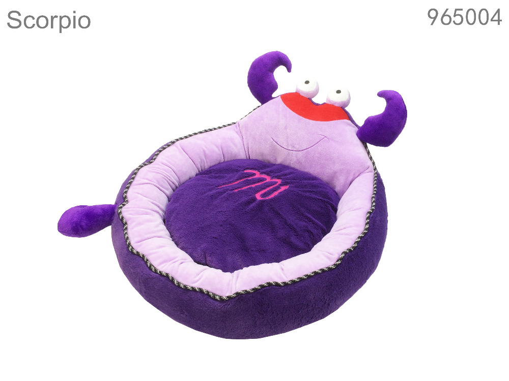 2016 wholesale hotsale home garden pet new products pet bed lovly washable soft warm cartoon purple scorpion shape dog pet bed