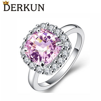 Purple Gemstone Prong Setting Diamond High Quality Copper Ring Jewelry Gifts for Women