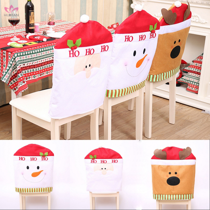 In Stock Fabrics 3 Styles Christmas Dinner Chair Covers Santa Claus Deer Snowman Chair Cover