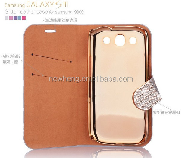 Hottest For Samsung S3 i9300 Bling Bling Leather Case, Diamond Leather Flip Case for Samsung galaxy s4
