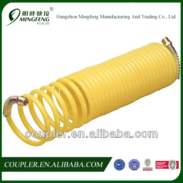 "25ft 1/4"" Recoil Pneumatic Compressor Tools Re Coil Ends Spring Hose"