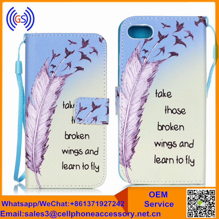 Beautiful Feather Design Pattern Mobile Phone Flip Cover For Huawei Ascend Y300