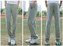 2015 OEM custom sports pants men's trousers Pure cotton running fitness basketball pants loose leisure pants