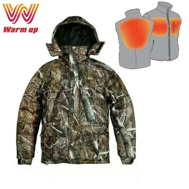 Woodland outdoor winter carbon fiber heated camouflage jacket