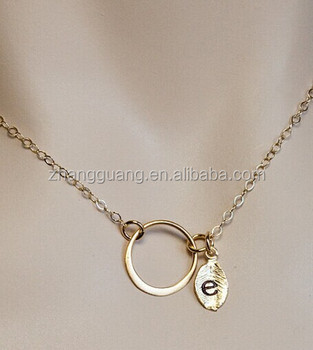 Gold Plated Circle And Initial Leaf Necklace,