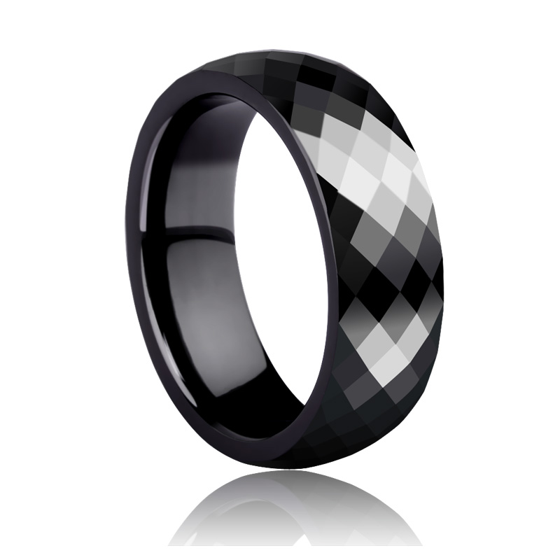 Fashion Men's Jewelry Rings Black Hi-Tech Ceramic Rings 4mm/7mm for Man and Woman Multifaceted Scratch Proof Free Shipping