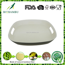 Breakfast food serving white bamboo fiber tray with handle