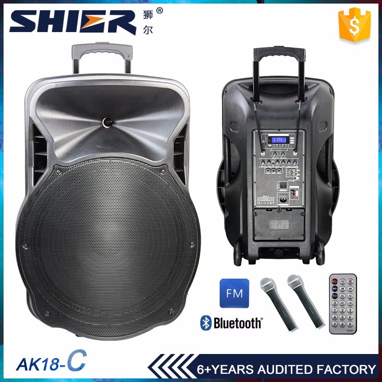 "Latest Design Flexible Price Subwoofer 18"" Speaker Plastic Cabinet With Trolley"