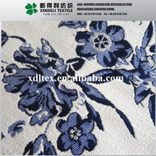 Blue flower jacquard 300gsm 140cm 59% polyester, 41% cotton mohair wool coat fabric