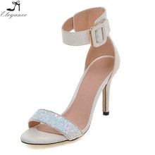 Latest Ladies Shiny PU Glitter Low MOQ Price Ankle Wide Buckle Peep Toe High Heel Women Wedding Fancy Sandals Designs Shoes