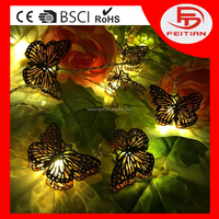 holiday metal pendant new type gold butterfly battery controlled led christmas light