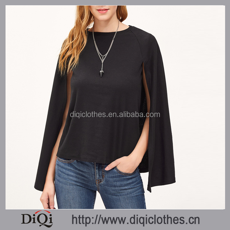 Newest designs Guangzhou Factory wholesale cheap women Casual plain Black Round Neck Cape T-shirt