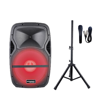 Accuracy Pro Audio PMW15DPMXQ-BT-150W-LED4-KIT 15'' Active Plastic Karaoke Speaker With Led Light Speakers Audio System