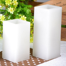 Wax Square Pillar Battery Powered LED Candle light For Party