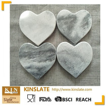 Professional customized heart shape grey color marble coasters set