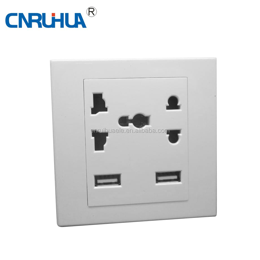 OEM 220VAC 10A plastic wall socket with 2UsB port