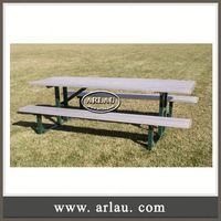 Arlau Coffee Wood Table, Outdoor Round Wooden Table And Bench, Wooden Picnic Outdoor Table