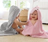Wholesale China baby wahser organic cotton baby hooded towel with embroidered logo,kids' bath robe